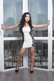 Sexy chinese model posing near big french window Stock Photos