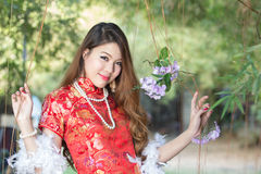 Sexy Chinese woman. With dress traditional cheongsam Stock Image