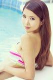 Chinese Woman Wearing Bikini in Swimming Pool Stock Image