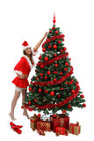 Sexy Christmas girl. Attractive sexy girl in santa clothes near the Christmas tree Royalty Free Stock Image