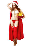 Sexy christmas girl in bikini and red santa hat Stock Photo