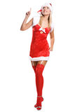 Sexy christmas girl isolated on white Stock Photography