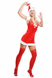Sexy christmas girl isolated on white Royalty Free Stock Image