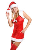 Sexy christmas girl isolated on white Royalty Free Stock Images