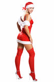 Sexy christmas girl isolated on white Stock Image