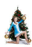 christmas girl posing with gold balls Stock Images