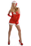Sexy christmas girl with red high heels Royalty Free Stock Image