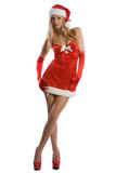 Sexy christmas girl with red high heels Royalty Free Stock Photo