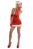 Sexy christmas girl with red high heels Stock Photos