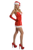 Sexy christmas girl with red high heels Stock Photography