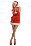 Sexy christmas girl with red high heels Stock Photo