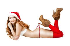 Sexy christmas girl in red santa claus hat Stock Photo