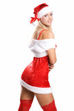 Sexy christmas girl in red stockings on white Stock Images