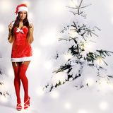 Sexy christmas girl with snow background Royalty Free Stock Images