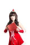 christmas girl on white background Royalty Free Stock Photo