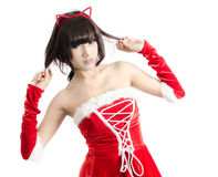 Sexy christmas girl on white background Stock Images