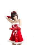Sexy christmas girl on white background Royalty Free Stock Photos