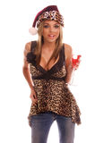 Sexy Christmas Party Girl Stock Images