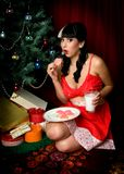 Sexy Christmas Pinup Girl Stock Photos