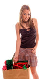 Sexy Christmas Shopper Royalty Free Stock Photos