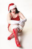 Sexy Christmas woman crouching Stock Image
