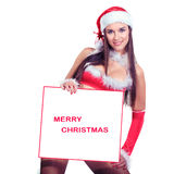 Sexy christmas woman holding white board Royalty Free Stock Photo