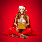 Sexy christmas woman in red santa claus hat Royalty Free Stock Photos