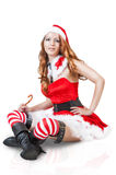 christmas woman in santa claus clothes Royalty Free Stock Image