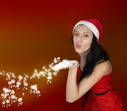 Sexy Christmas Women wearing Santa Claus Clothes Stock Image
