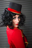 Sexy Circus Ringmaster looking over her shoulder Stock Photo