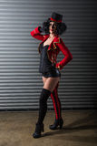 Sexy circus ringmaster woman Stock Photos