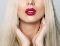 Sexy close up of red lips Royalty Free Stock Images