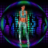 Sexy club girl stands before a retro disco dance ball Royalty Free Stock Photography