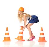 Sexy construction girl Stock Photography
