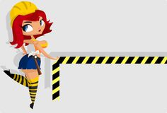 Sexy construction worker. Illustration: sexy constuction worker girl in uniform  holds do not cross tape Royalty Free Stock Photography