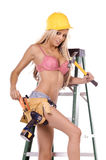 Sexy Construction Worker On Ladder Stock Photography