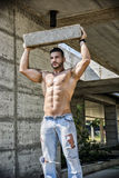 Sexy construction worker shirtless with muscular Royalty Free Stock Photography