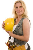 Sexy contractor construction lady with tools Royalty Free Stock Photo
