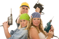 Sexy contractor construction lady with tools. Group of sexy contractor or builder or homemaker females with elctric power tools Stock Photos