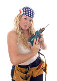 Sexy contractor construction lady with tools Royalty Free Stock Photography