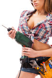 Sexy contractor. Royalty Free Stock Images