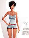 Sexy coquette tanned woman full body portrait. Gorgeous lady in Stock Image