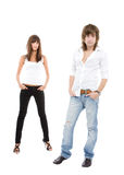 Sexy couple. Studio view of a young, casual, sexy couple Stock Photography