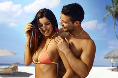 Sexy couple on the beach Royalty Free Stock Photography