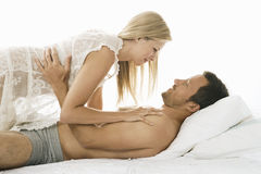 Sexy couple in bed. Royalty Free Stock Images