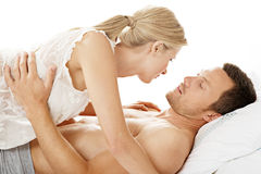 Sexy couple in bed. Royalty Free Stock Photo