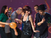 couple dancing, flirting in night club Stock Images