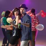 Sexy couple dancing, flirting in night club Stock Photo