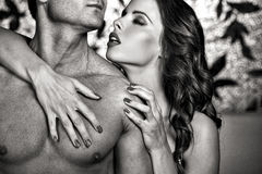 Sexy couple foreplay at night Stock Photo