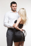 couple. girl holding a leash. dog collar Stock Images
